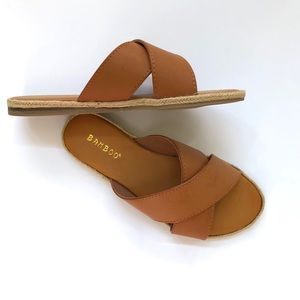 Bamboo faux leather espadrille slide sandals